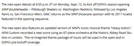ESPN 2016 MNF Release feat. APM Music Custom Division