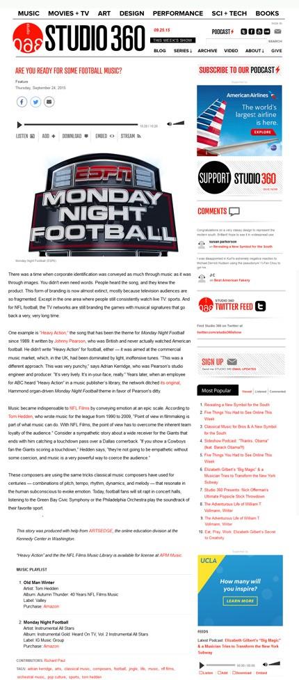 """Studio360 Discusses \""""Football"""" Music"""